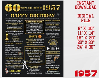 60th Birthday Poster, Chalkboard Poster, Party Decoration, USA Life event, Born in 1957, 60th Birthday Gift for parents, DIGITAL FILE 3d3