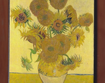 Van Gogh,Sunflowers (F454), fourth version: yellow background , National Gallery, London, England.FREE SHIPPING