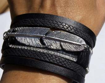 creation! CHARM BRACELET feather faux leather black 19 cm