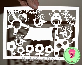 Giraffe And Monkey Papercut Template SVG / DXF Cutting File For Cricut / Silhouette & PDF Printable File to Hand Cut Download