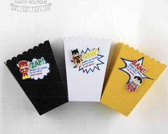 superhero party favor popcorn boxes | 12 pack | party favour box | loot bags | party bags | superheroes inspired by dc comics marvel comics