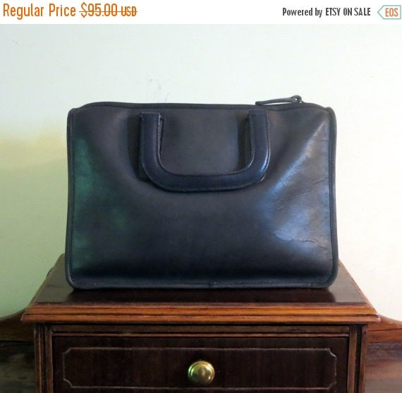 Football Days Sale Coach Slim Satchel Standard Navy Blue  Made In 'The Factory' In New York City- VGC