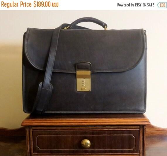 Football Days Sale Coach Diplomat Black Leather Briefcase Attache Laptop IPad Case - VGC