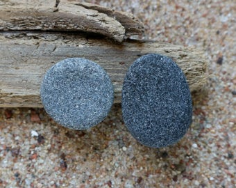 Black Pebble Clip On Earrings - Mismatched Sea Stones - Round and Oval - Non Pierecd Ears - Baltic Sea Zen