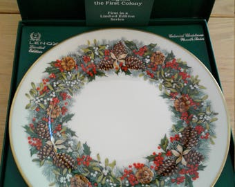 Lenox 1981 Colonial Christmas Wreath Plate Virginia the 1st Colony with Box and Paperwork