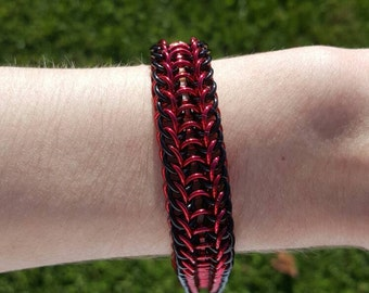 Black and red Anodized Alumnium Alligatorback Bracelet
