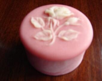 1980s, Pink SOAPSTONE, Round Trinket Box & Lid, Pink, Raised White Rose Design, Ring Box, Vintage Jewelry Box, Dresser Box