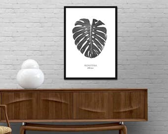Monstera Leaf Print. Monstera Deliciosa Poster. Monstera Modern Scandinavian Wall Art. White Black Nordic Design. Minimalist Graphic art.