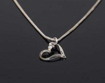 Heart necklace, Gold necklace, Heart pendant, Gold pendant, Dainty pendant, Dainty necklace, Small pendant Small necklace White gold pendant