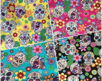 Sugarscull Cotton Fabric - Rose&Hubble - 100% Cotton Fabric with Sculls and Flowers Sugarscull Cerise Turquoise Black Craft Fabric Material