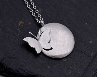 Paper cut Inspired Breaking Cocoon Butterfly Pendant Necklace in Sterling Silver with Textured Brushed Finish 18''  z95