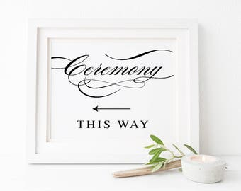 Black and White Calligraphy Printable Wedding Sign, Ceremony This Way Arrow Sign, Instant Download, Peach Perfect Australia