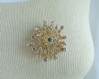 60s gold crystal brooch, iridescent crystal rhinestone brooch, 1960s large vintage mad men pin, vintage brooch costume jewelry jewellery