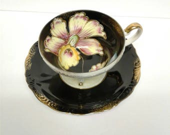 Inky Black Floral Cup and Saucer