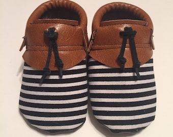 Striped Tassel Moccs  • Queen B Moccs • baby moccasins