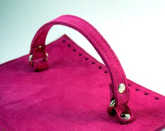 Fuchsia suede bag cap with handle Dimensions: 25x19 cm or custom suede leather bag accessories straps,purse straps,anses cuir, bag