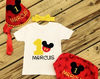 Monogrammed Mickey Mouse Birthday Smash Set with Party Hat and Bloomers