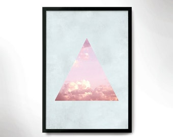 modern style poster, wall decor, sky poster, pink sky poster, wall frame