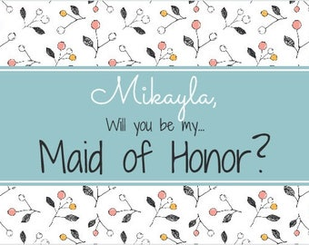 MOH/Bridesmaid Wine Label *Free Shipping*