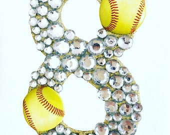 Softball cake topper, you pick number and color of stones