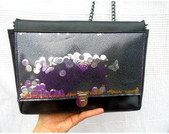 Shoulder bag in black with glitter and shakerabili elements