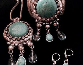 Summer Outdoors | Pirate Necklace | Black Sails Jewelry | Turquoise Necklace Set | Blue Necklace Set | 3 piece Set