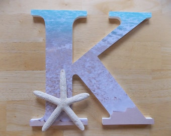 Wooden Decorated Letters, Beach Letters, Nautical Letters, Seashell Letters, Personalized Letters, Beach Decor