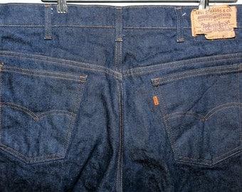 70s 80s Dark Wash Levi's Jeans 38 x 32 Levis Orange Tag Hippie Grunge