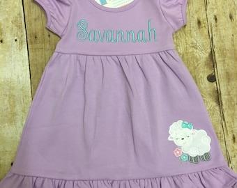 Personalized Girls Easter Dress - Personalized Girls Spring Dress - Little Lamb Dress
