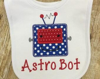 Monogrammed Baby Robot Bib - Personalized Bib - Baby Bib - monogrammed bib - baby gift