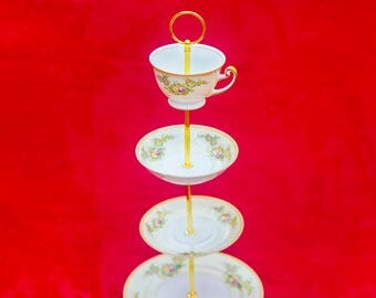 Gorgeous 4 Tier Stand with Meito china, cake stand, cupcake stand
