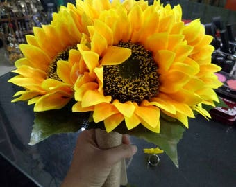Sunflower Bouquet Simple Bridal Flowers bouquet yellow Bridesmaids Bouquets with hemp rope