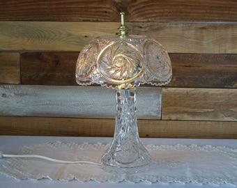 """Pinwheel Cut Crystal Small Lamp - Table Lamp - 13.4"""""""