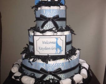 Blue Safari Diaper Cake