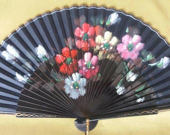 50s Painted Wood And Cloth Fan Bright Vibrant Colours. Flowers. Flowery Accessory Red Ladies Trenchnicoff Spanish