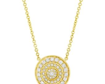Unique Ladys 0.37CT 14K Yellow Gold Diamond Vintage Circle Pendant Necklace Beaded Milgrain