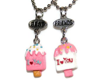 Best Friends jewelry: 2 necklaces colorful popsicle resin pendants / / BFF best friends gift children girl party Passion rebel