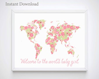 Girl Baby Shower Gifts, Pink Map of the World with Flowers, Nursery Room Decor, Nursery Room - Wall Art  - Baby Art