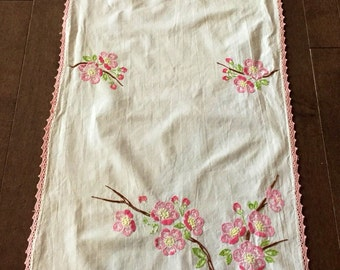 Vintage Rectangular Pink Floral Table Runner With Crochet Edge.
