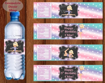 Water Bottle Labels Birthday Printable Gymnastics Tags Gymnastic Party Printable Teal Girl Pink Purple Aqua Party pink purple WLG5