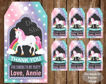 Unicorn Thank you cards Rainbow Favor tags digital gift Decoration birthday printable Purple teal pink aqua Thank you card tag Girl FTU2