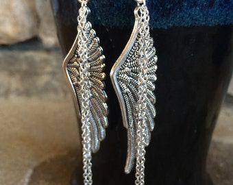 Angel wing earrings, long dangle earrings, handmade