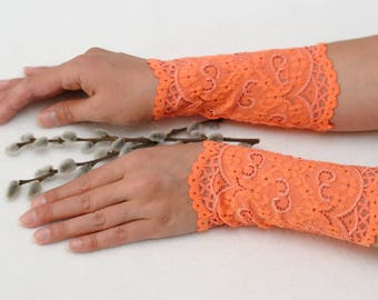girlfriend gift for womens accessories Lace bracelets Filigree lace cuffs Peach cuff bracelet Lace wrist cuff Boho bracelet Elegant bracelet