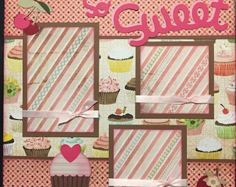 SO SWEET cupcakes Premade 12x12 scrapbook page