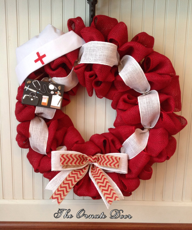 Nurse wreath medical wreath made to order school nurse for Order christmas decorations