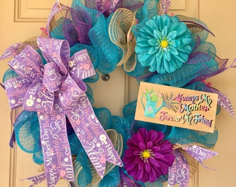 Mother's Day Wreath with Custom-Made Wooden Plaque and Gorgeous Burlap Mother's Day Ribbons and Bow