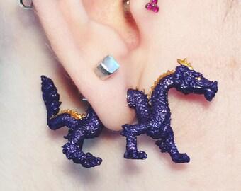PURPLE DRAGON faux guage STUD earrings