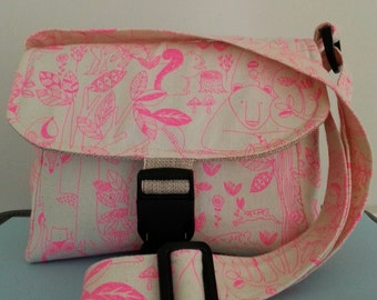 Messenger bag, sturdy/strong bag, adorable forest animal fabric, pink/cream, many colors to choose from, cotton/polyester/interfacing
