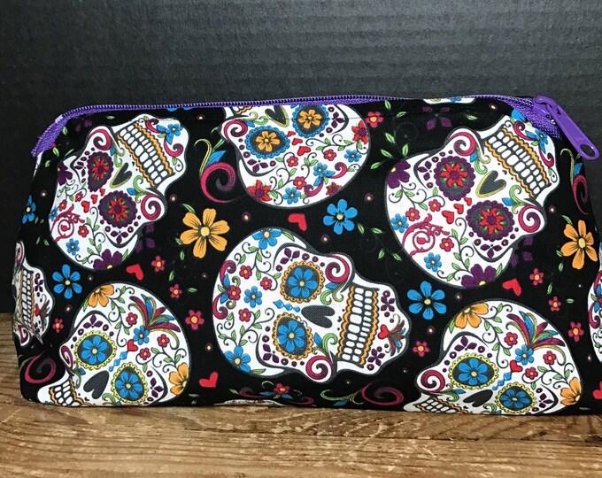 Calavera, Skull, Day of the Dead, Sugar Skull Bag | make-up bag, fun bag, money bag, cosmetic bag, Plum & Khloe Designs bag