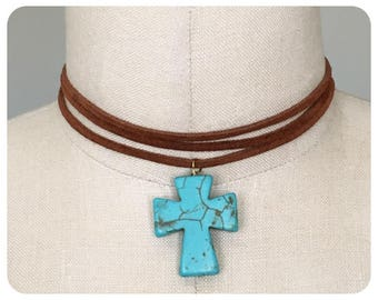 Turquoise Cross Pendant Choker, with Suede Lace Cord